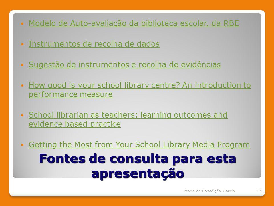 Fontes de consulta para esta apresentação Modelo de Auto-avaliação da biblioteca escolar, da RBE Instrumentos de recolha de dados Sugestão de instrumentos e recolha de evidências How good is your school library centre.