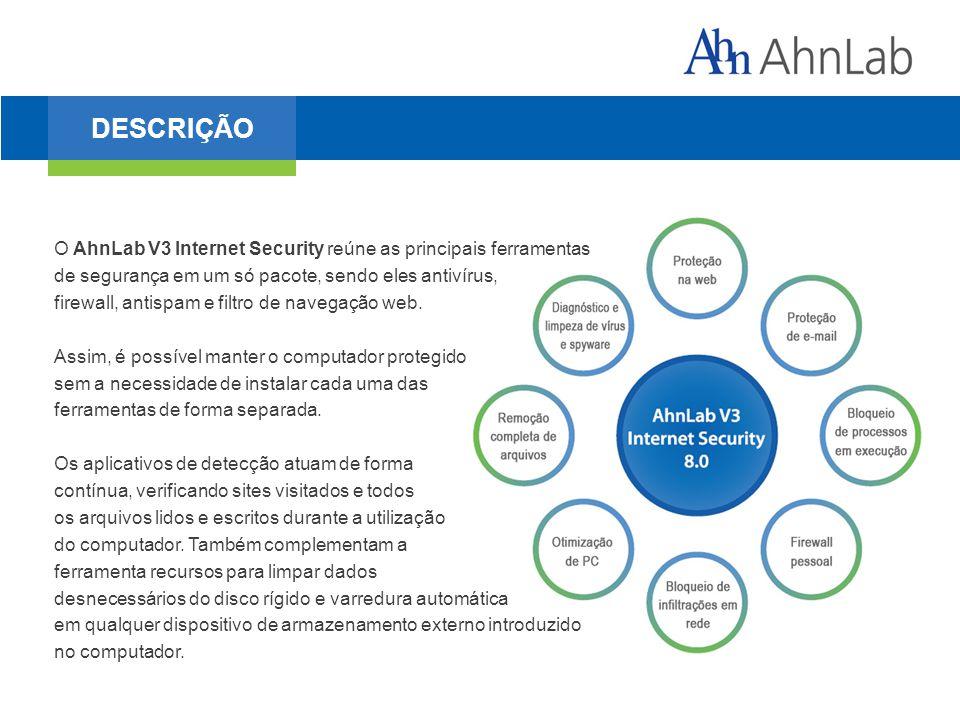 O AhnLab V3 Internet Security reúne as principais ferramentas de segurança em um só pacote, sendo eles antivírus, firewall, antispam e filtro de navegação web.