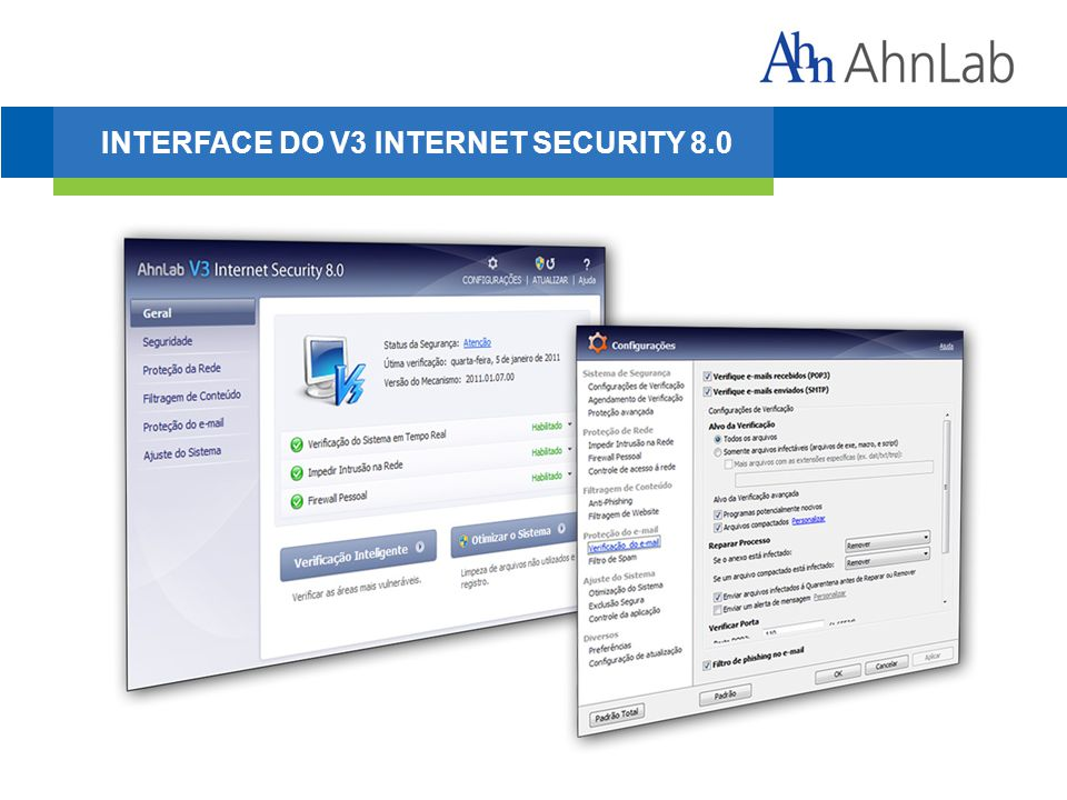 INTERFACE DO V3 INTERNET SECURITY 8.0