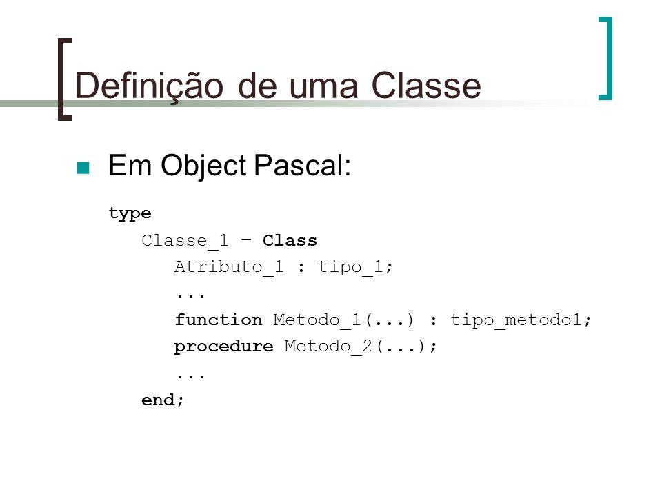 Definição de uma Classe Em Object Pascal: type Classe_1 = Class Atributo_1 : tipo_1;... function Metodo_1(...) : tipo_metodo1; procedure Metodo_2(...)