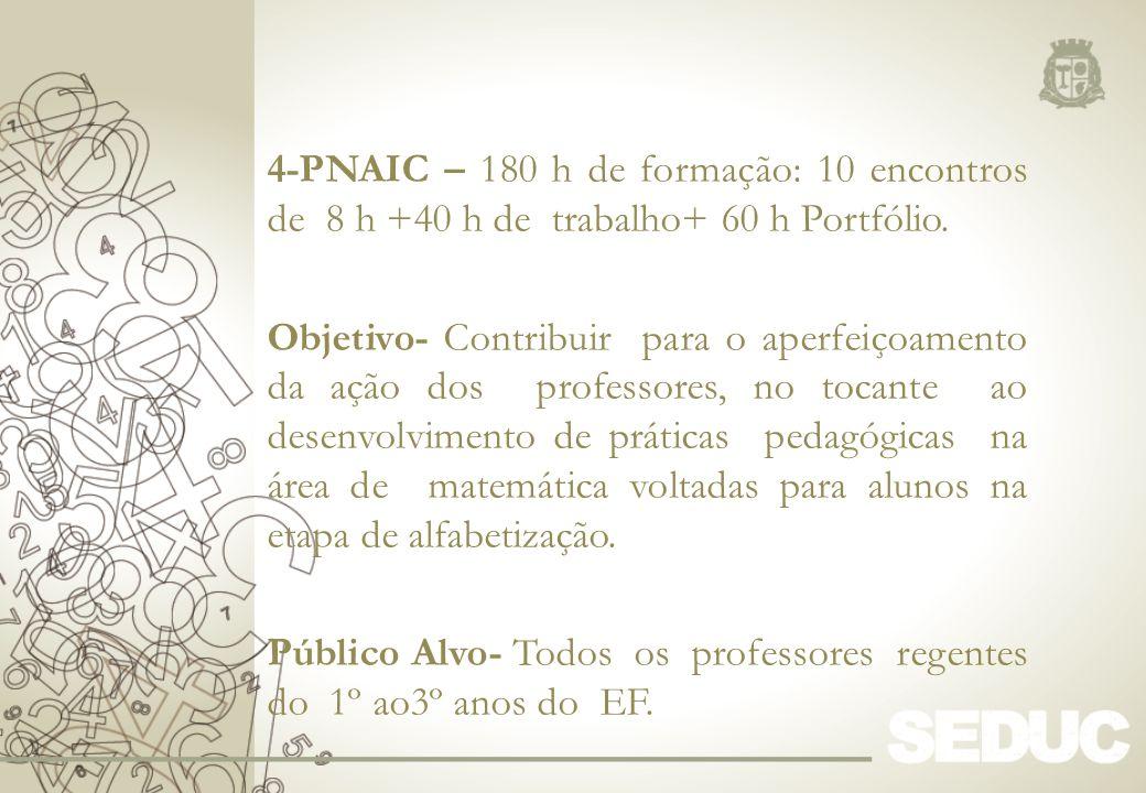 4-PNAIC – 180 h de formação: 10 encontros de 8 h +40 h de trabalho+ 60 h Portfólio. Objetivo- Contribuir para o aperfeiçoamento da ação dos professore