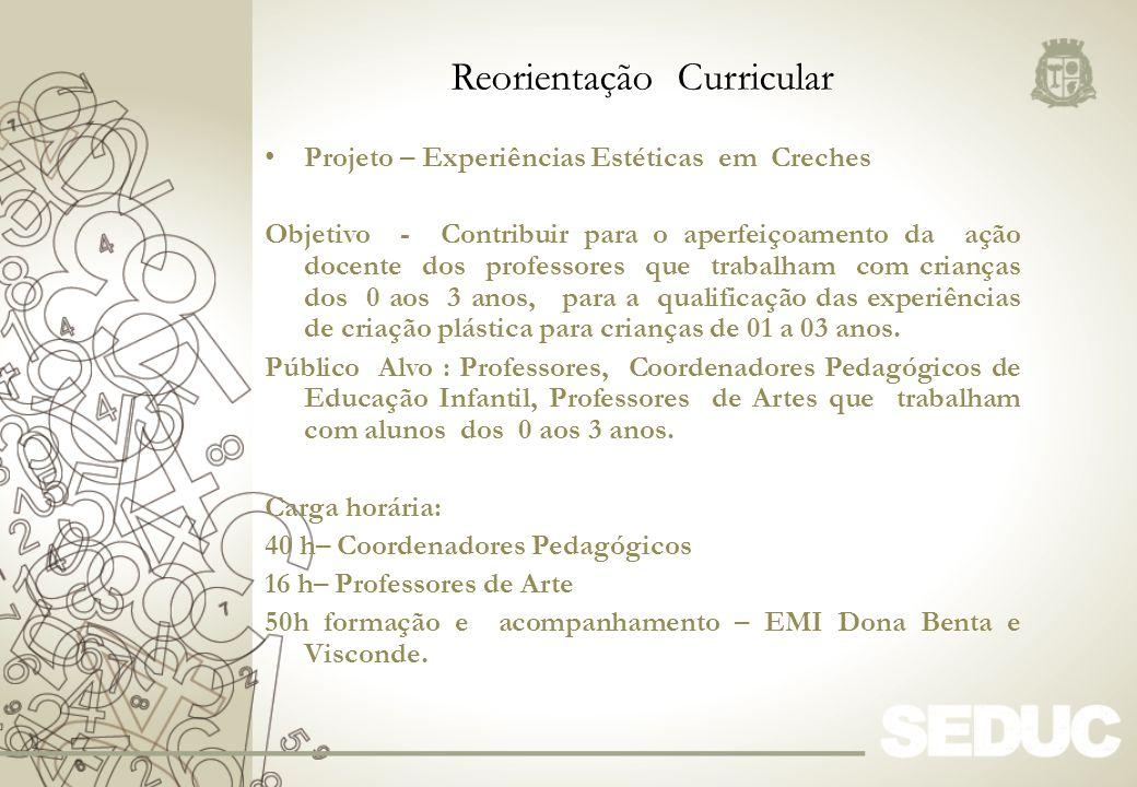 Projeto – Experiências Estéticas em Creches Objetivo - Contribuir para o aperfeiçoamento da ação docente dos professores que trabalham com crianças do