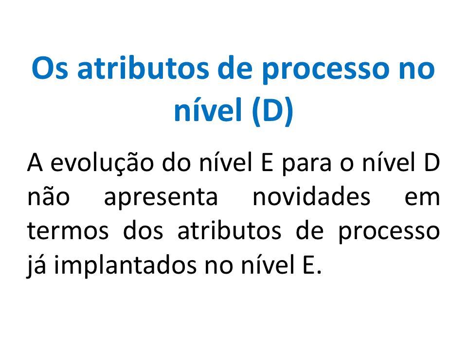 Os atributos de processo no nível (D) A evolução do nível E para o nível D não apresenta novidades em termos dos atributos de processo já implantados