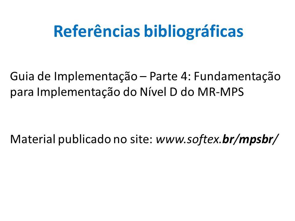 Referências bibliográficas Guia de Implementação – Parte 4: Fundamentação para Implementação do Nível D do MR-MPS Material publicado no site: www.soft