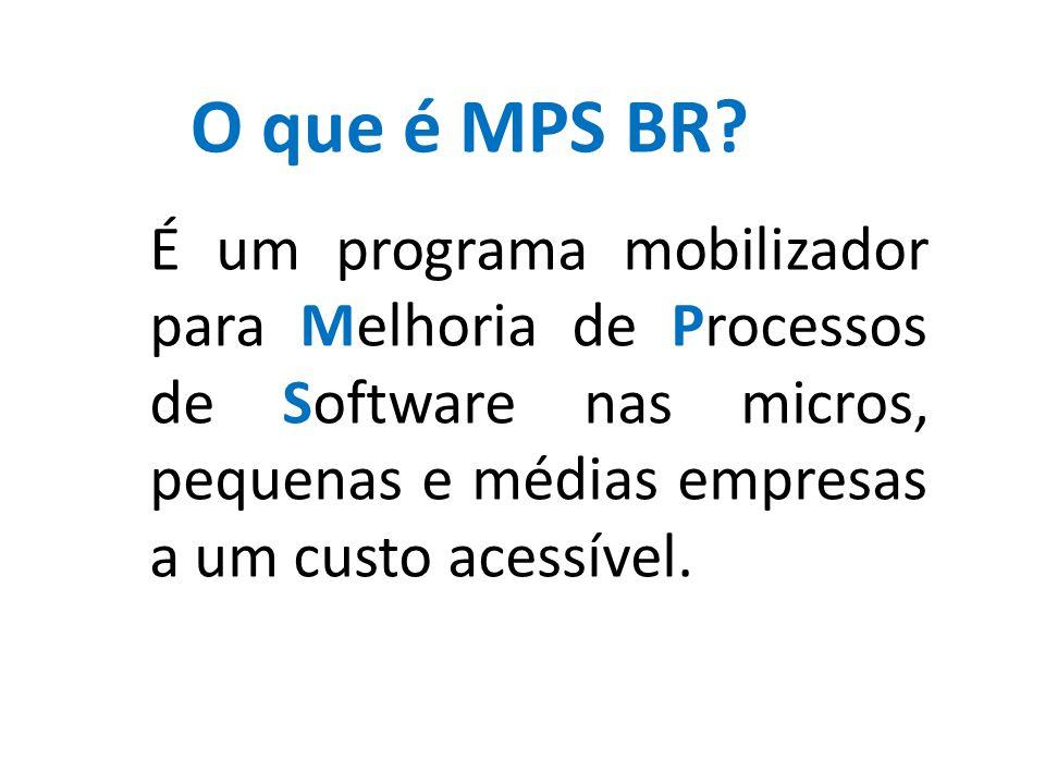 É um programa mobilizador para Melhoria de Processos de Software nas micros, pequenas e médias empresas a um custo acessível. O que é MPS BR?