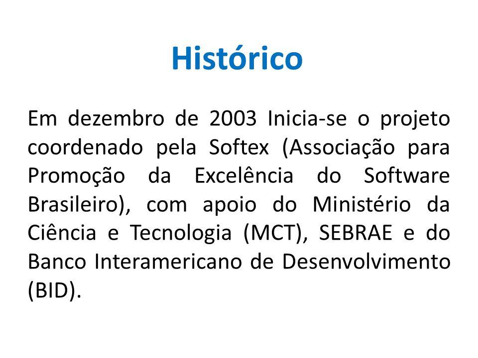 Em dezembro de 2003 Inicia-se o projeto coordenado pela Softex (Associação para Promoção da Excelência do Software Brasileiro), com apoio do Ministéri