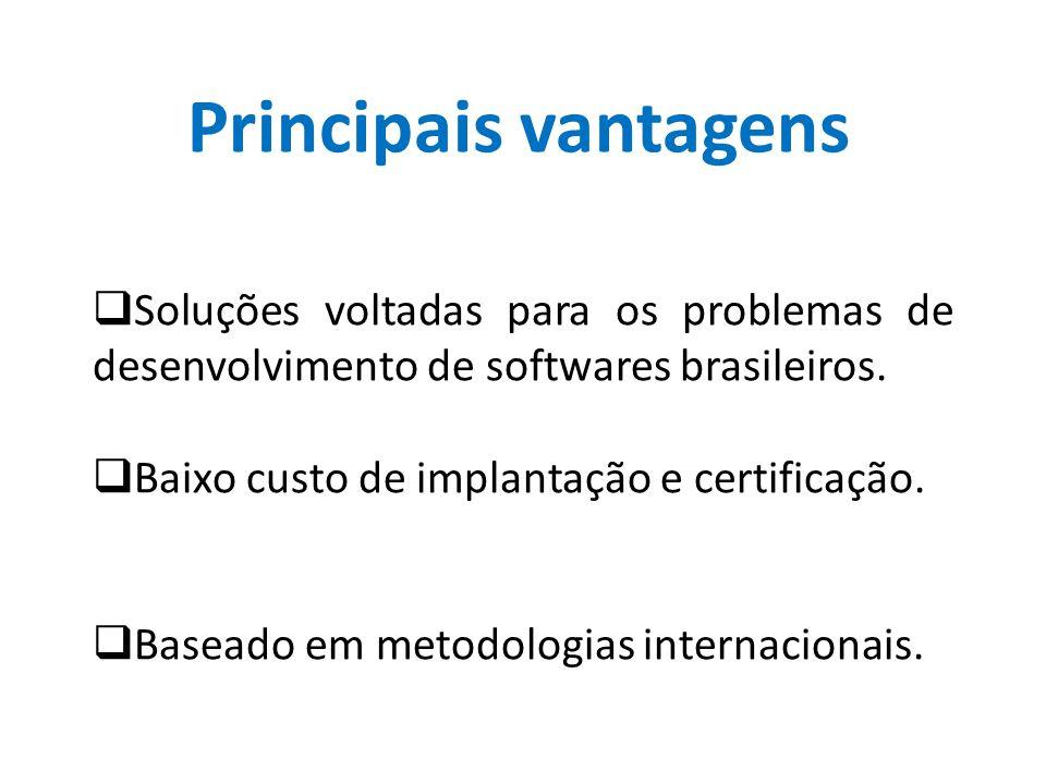 Principais vantagens  Soluções voltadas para os problemas de desenvolvimento de softwares brasileiros.  Baixo custo de implantação e certificação. 