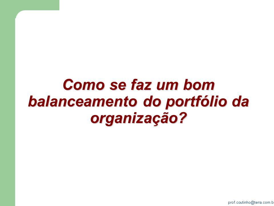 prof.coutinho@terra.com.br Como se faz um bom balanceamento do portfólio da organização?