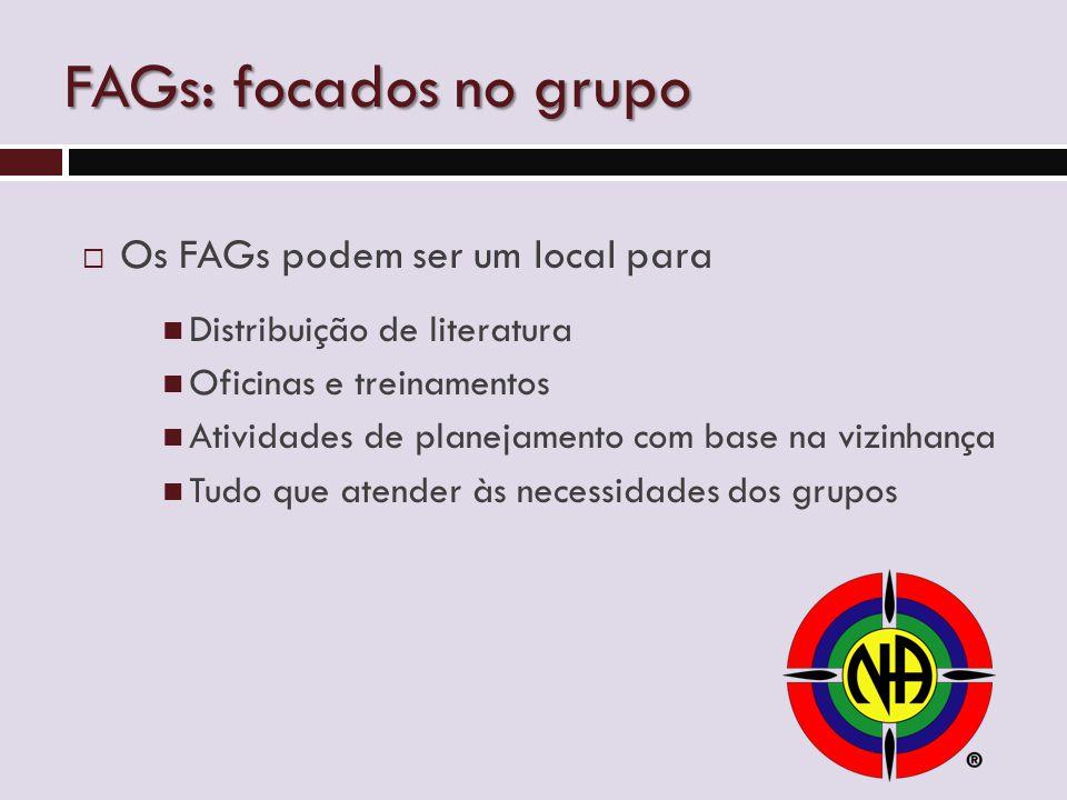 FAGs: focados no grupo  Os FAGs podem ser um local para Distribuição de literatura Oficinas e treinamentos Atividades de planejamento com base na vizinhança Tudo que atender às necessidades dos grupos