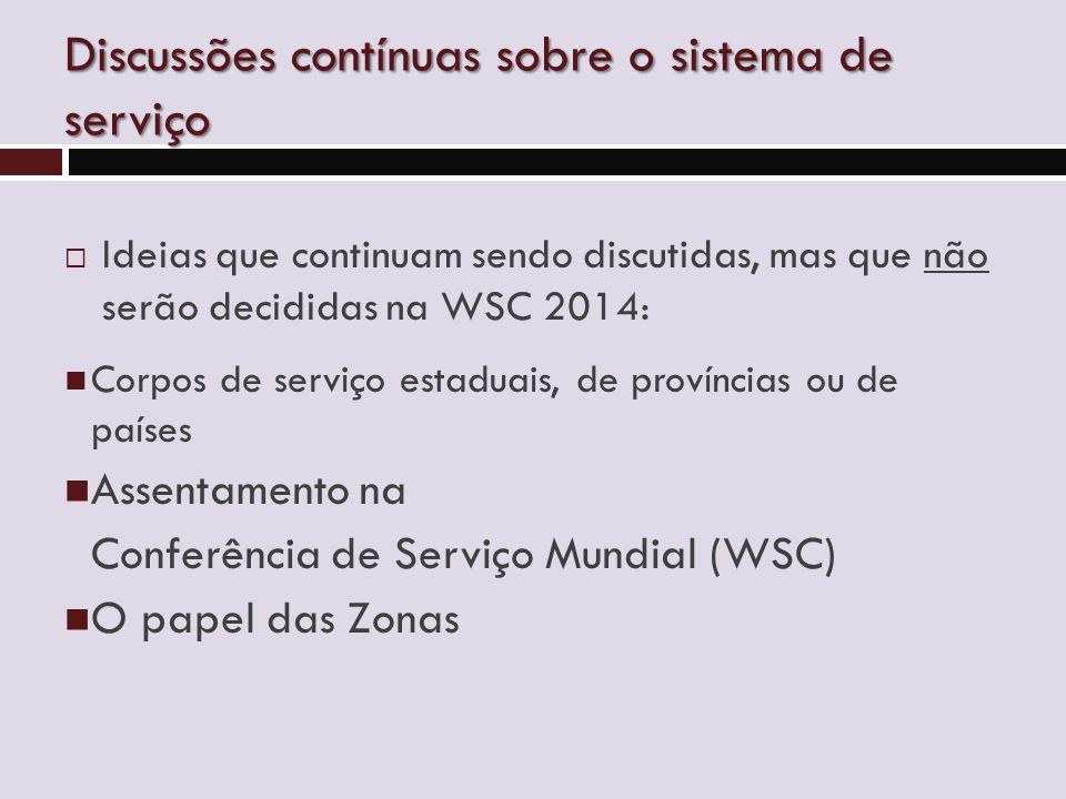 Discussões contínuas sobre o sistema de serviço  Ideias que continuam sendo discutidas, mas que não serão decididas na WSC 2014: Corpos de serviço estaduais, de províncias ou de países Assentamento na Conferência de Serviço Mundial (WSC) O papel das Zonas
