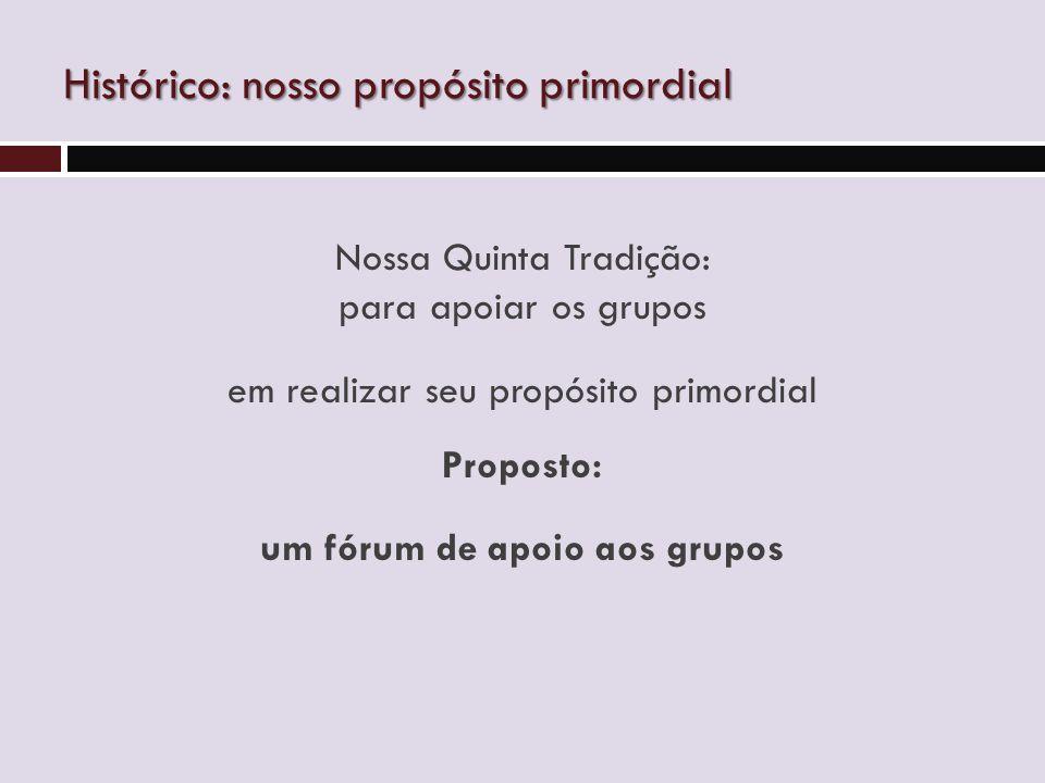 Nossa Quinta Tradição: para apoiar os grupos em realizar seu propósito primordial Proposto: um fórum de apoio aos grupos