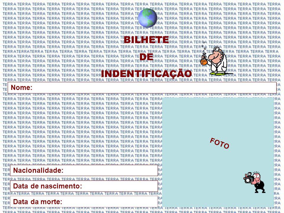 BILHETE DE INDENTIFICAÇÃO FOTO Nome: Nacionalidade: Data de nascimento: Data da morte: