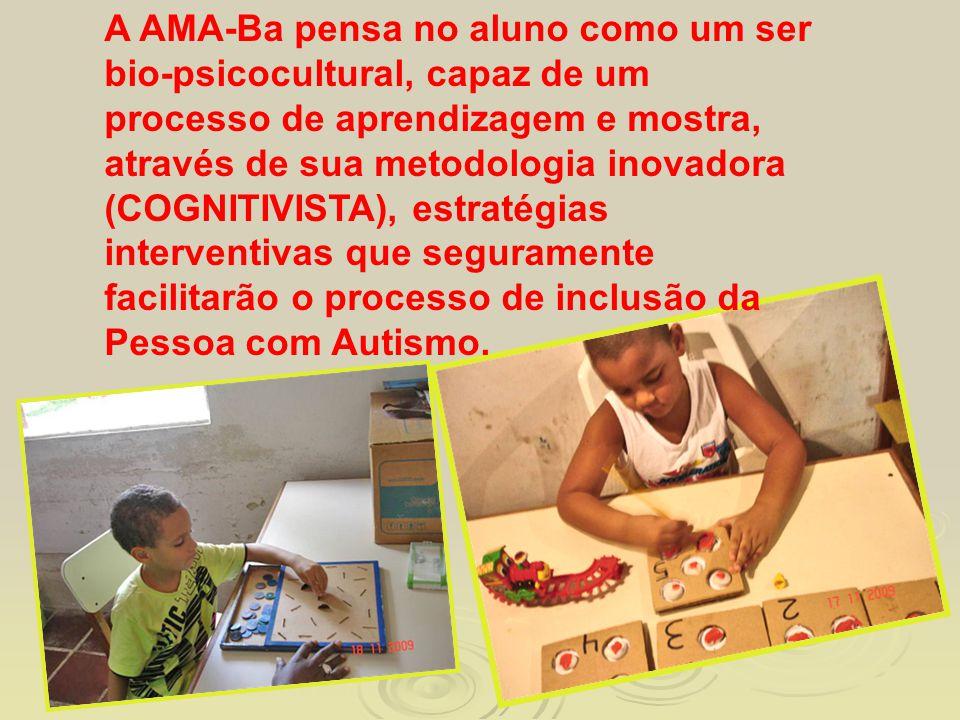 A AMA-Ba pensa no aluno como um ser bio-psicocultural, capaz de um processo de aprendizagem e mostra, através de sua metodologia inovadora (COGNITIVISTA), estratégias interventivas que seguramente facilitarão o processo de inclusão da Pessoa com Autismo.