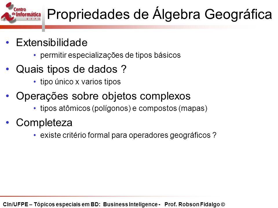 Operações de junção espacial  Compara dois conjuntos de geo-objetos, computando um predicado espacial sobre suas representações em mapas de objetos.