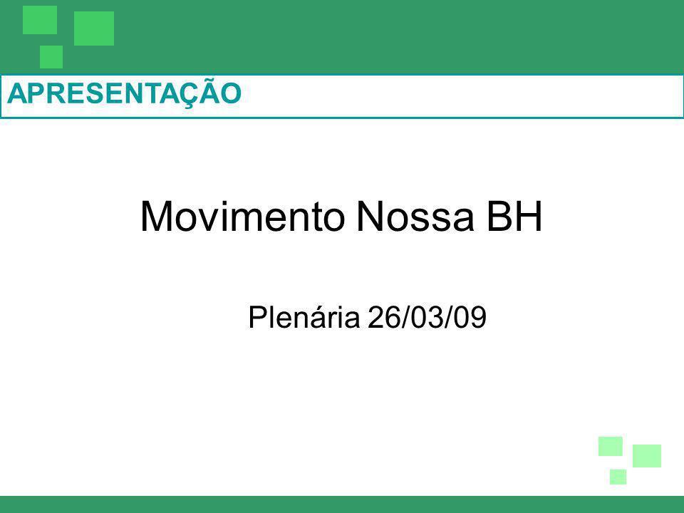 APRESENTAÇÃO Movimento Nossa BH Plenária 26/03/09