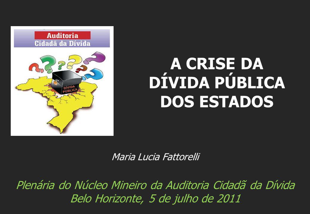 Maria Lucia Fattorelli Plenária do Núcleo Mineiro da Auditoria Cidadã da Dívida Belo Horizonte, 5 de julho de 2011 A CRISE DA DÍVIDA PÚBLICA DOS ESTADOS