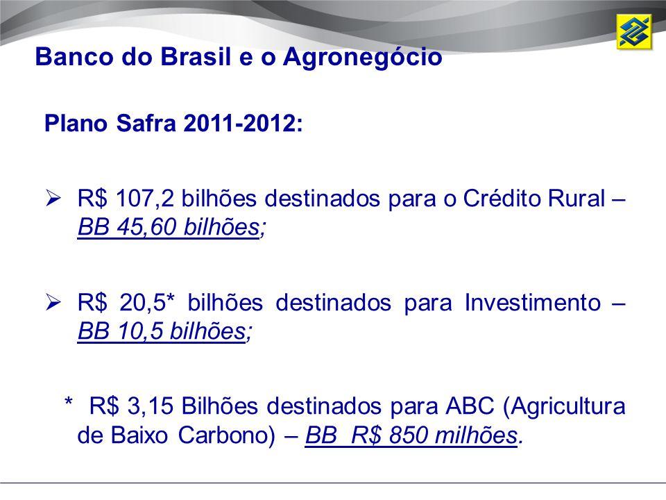 Banco do Brasil e o Agronegócio Plano Safra 2011-2012:  R$ 107,2 bilhões destinados para o Crédito Rural – BB 45,60 bilhões;  R$ 20,5* bilhões desti