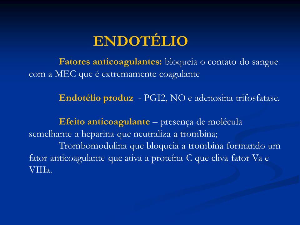 Fatores anticoagulantes: bloqueia o contato do sangue com a MEC que é extremamente coagulante Endotélio produz - PGI2, NO e adenosina trifosfatase. Ef