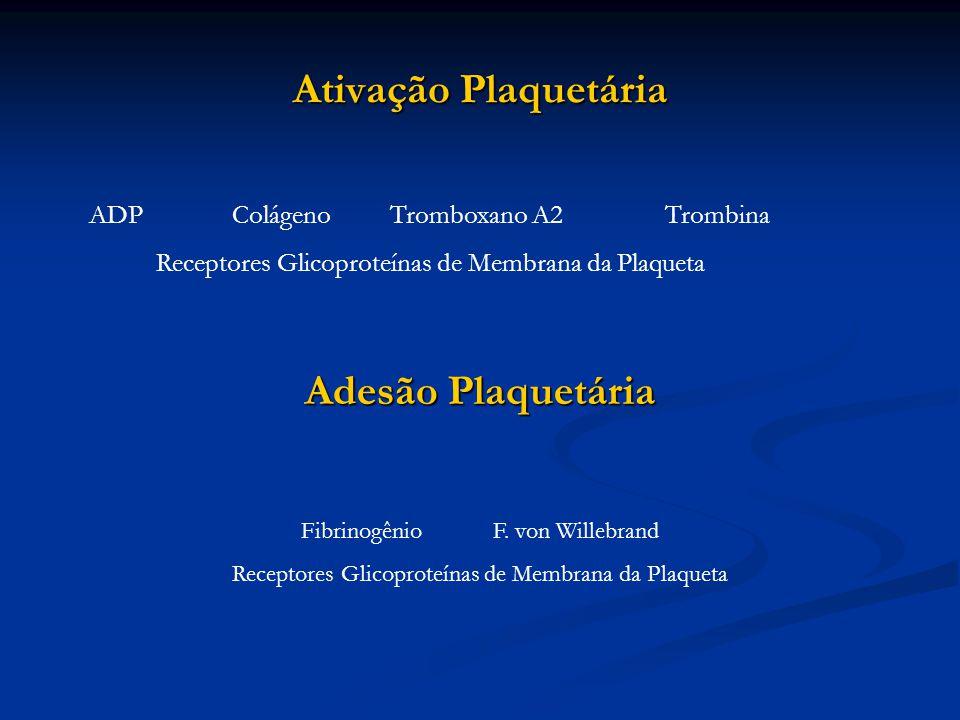Ativação Plaquetária ADP Colágeno Tromboxano A2Trombina Receptores Glicoproteínas de Membrana da Plaqueta Adesão Plaquetária FibrinogênioF. von Willeb