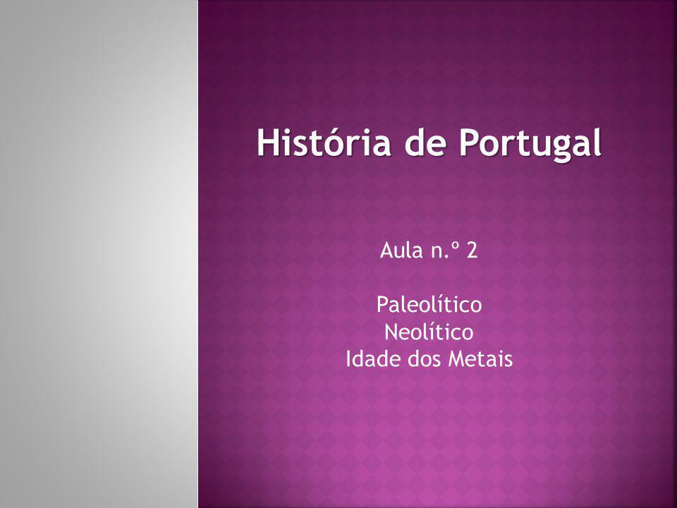 História de Portugal Aula n.º 2 Paleolítico Neolítico Idade dos Metais