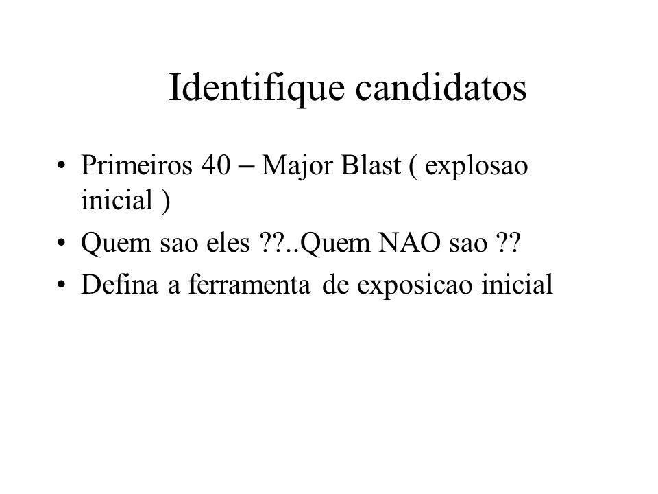 Identifique candidatos Primeiros 40 – Major Blast ( explosao inicial ) Quem sao eles ..Quem NAO sao .