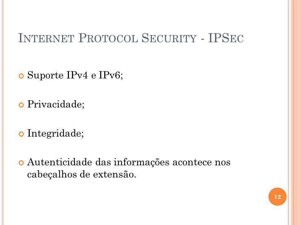 I NTERNET P ROTOCOL S ECURITY - IPS EC Suporte IPv4 e IPv6; Privacidade; Integridade; Autenticidade das informações acontece nos cabeçalhos de extensã