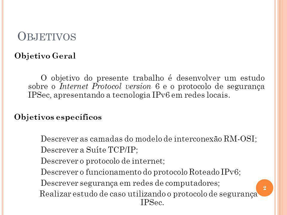 O BJETIVOS Objetivo Geral O objetivo do presente trabalho é desenvolver um estudo sobre o Internet Protocol version 6 e o protocolo de segurança IPSec