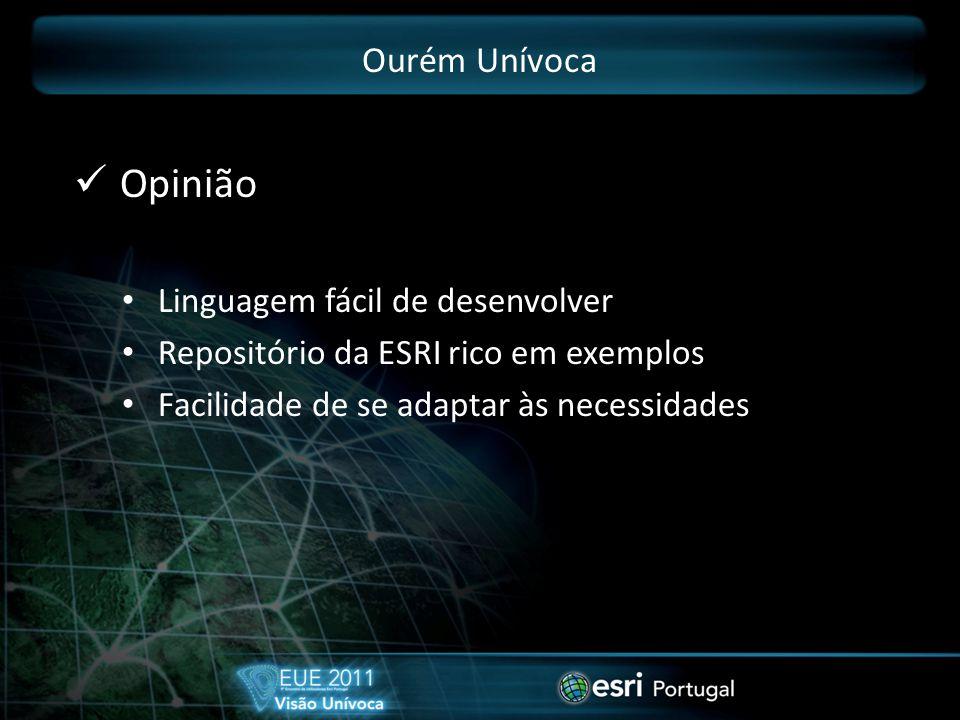Ourém Unívoca Opinião Linguagem fácil de desenvolver Repositório da ESRI rico em exemplos Facilidade de se adaptar às necessidades