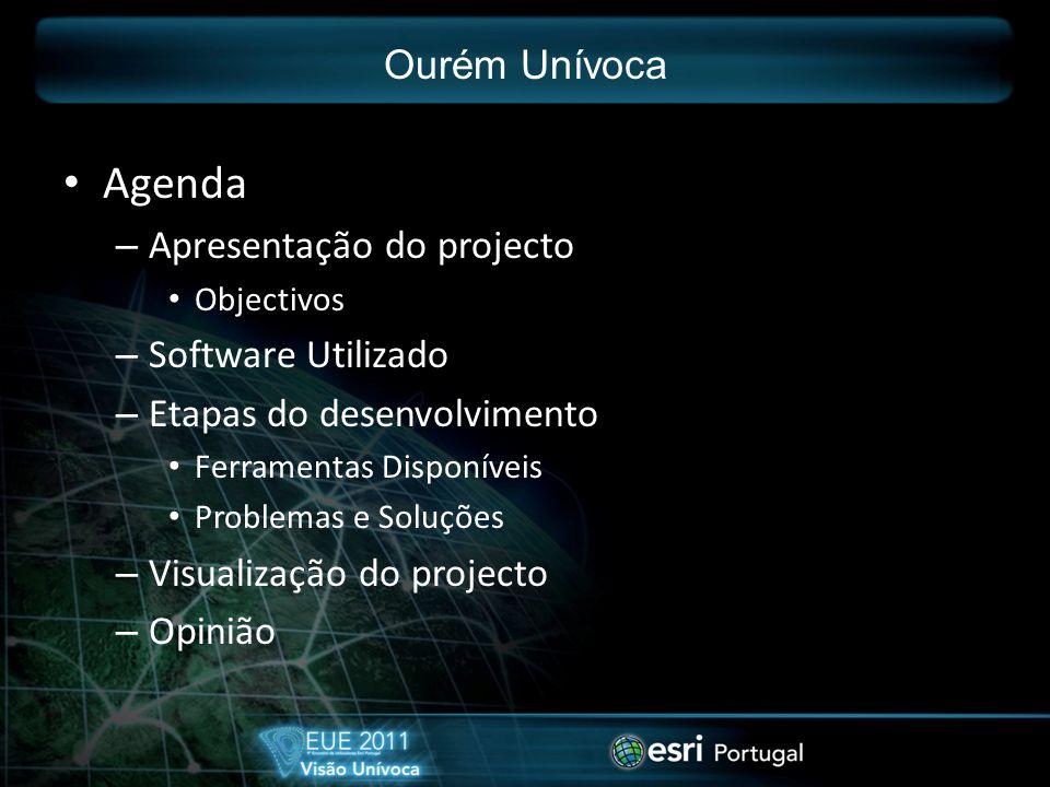Agenda – Apresentação do projecto Objectivos – Software Utilizado – Etapas do desenvolvimento Ferramentas Disponíveis Problemas e Soluções – Visualização do projecto – Opinião Ourém Unívoca