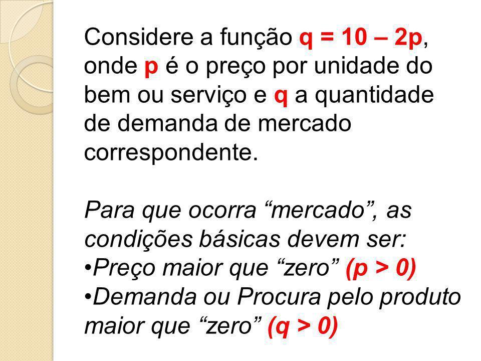 Considere a função q = 10 – 2p, onde p é o preço por unidade do bem ou serviço e q a quantidade de demanda de mercado correspondente. Para que ocorra