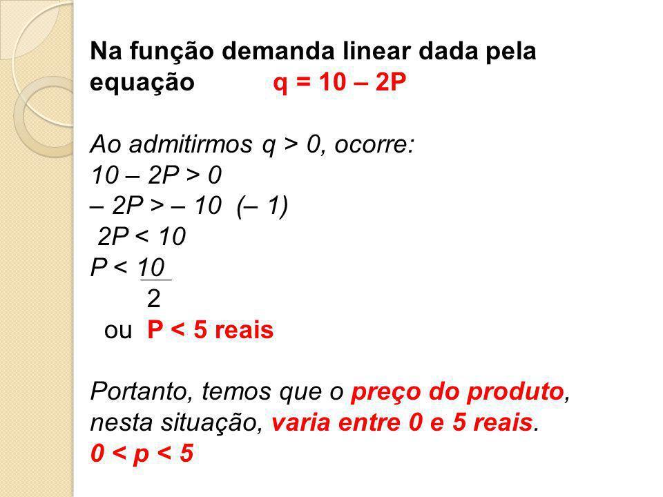 Na função demanda linear dada pela equação q = 10 – 2P Ao admitirmos q > 0, ocorre: 10 – 2P > 0 – 2P > – 10 (– 1) 2P < 10 P < 10 2 ou P < 5 reais Port