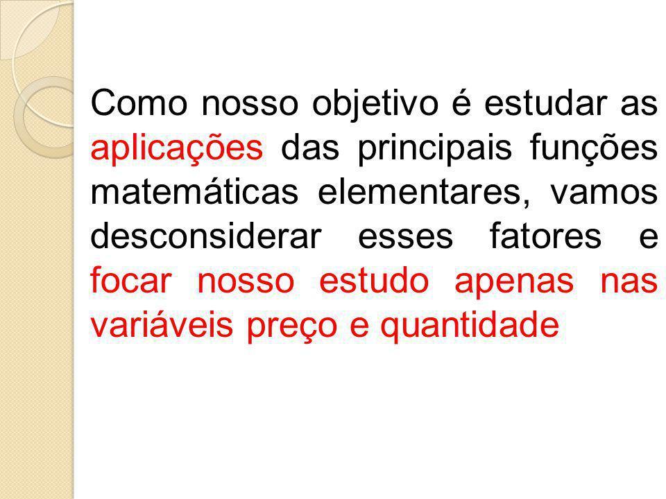Como nosso objetivo é estudar as aplicações das principais funções matemáticas elementares, vamos desconsiderar esses fatores e focar nosso estudo ape