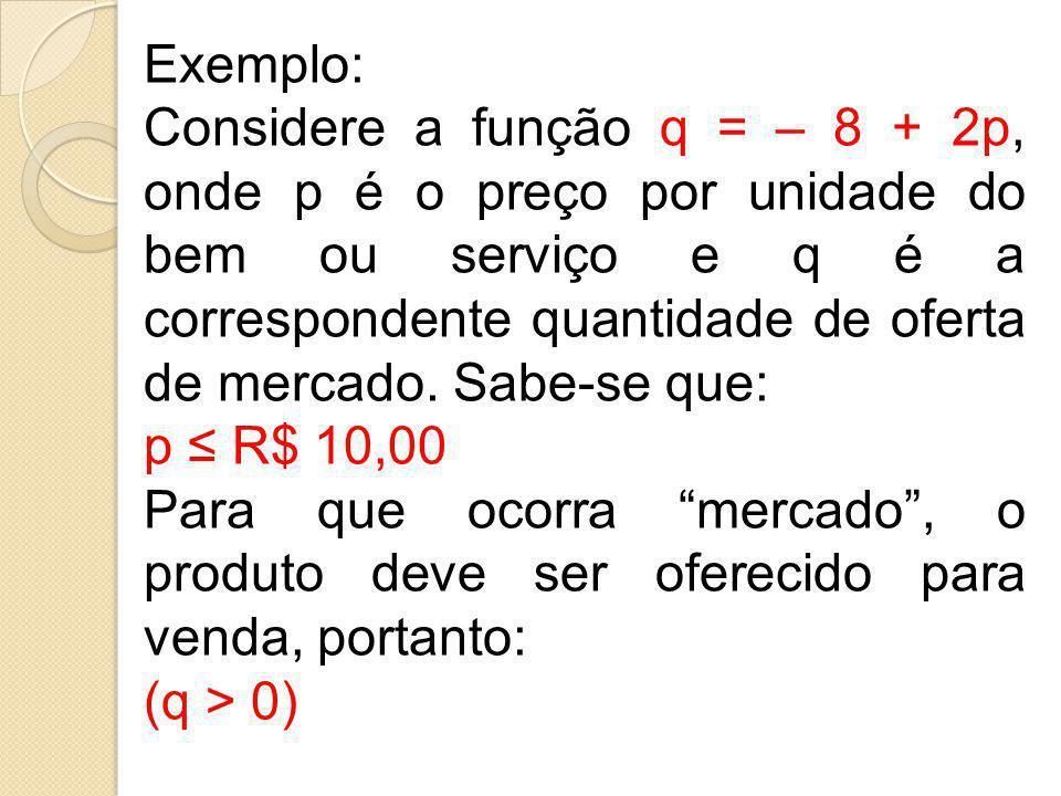 Exemplo: Considere a função q = – 8 + 2p, onde p é o preço por unidade do bem ou serviço e q é a correspondente quantidade de oferta de mercado. Sabe-