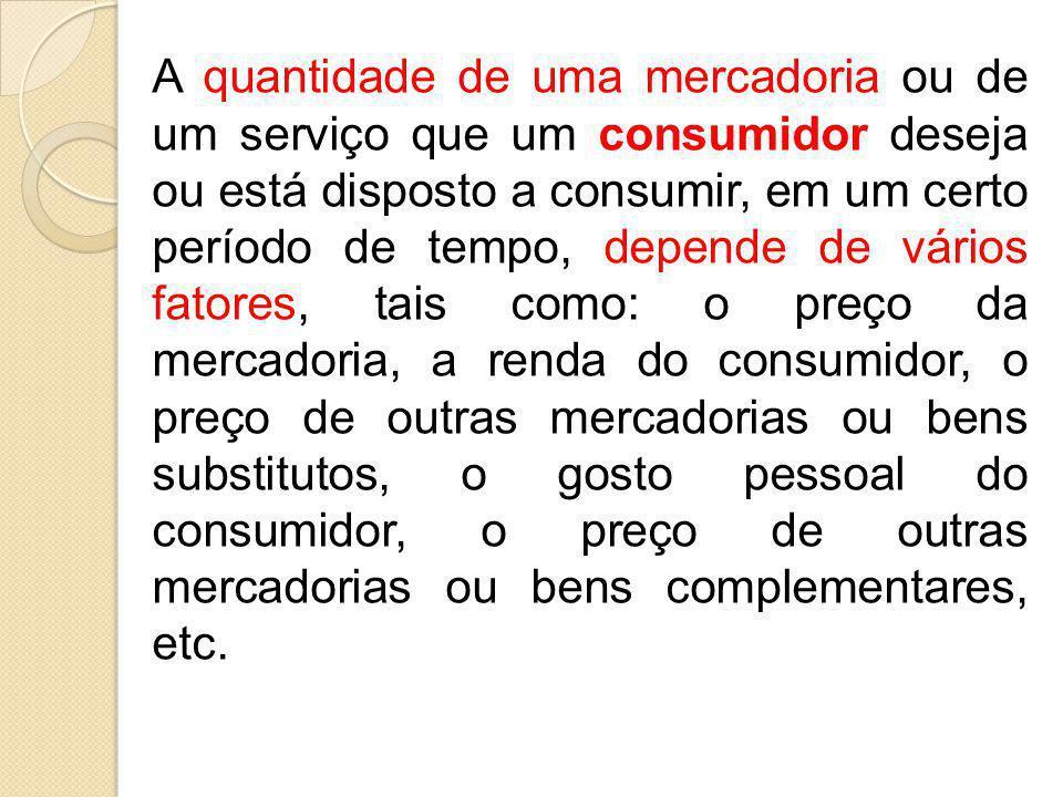 A quantidade de uma mercadoria ou de um serviço que um consumidor deseja ou está disposto a consumir, em um certo período de tempo, depende de vários
