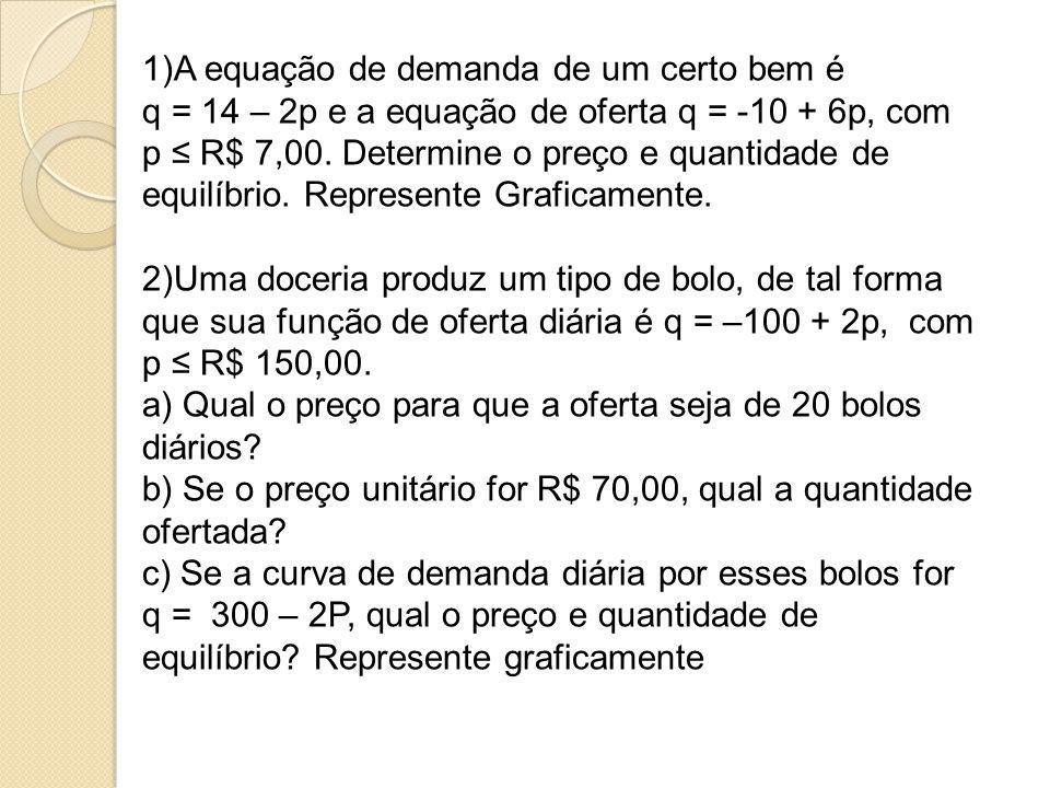 1)A equação de demanda de um certo bem é q = 14 – 2p e a equação de oferta q = -10 + 6p, com p ≤ R$ 7,00. Determine o preço e quantidade de equilíbrio