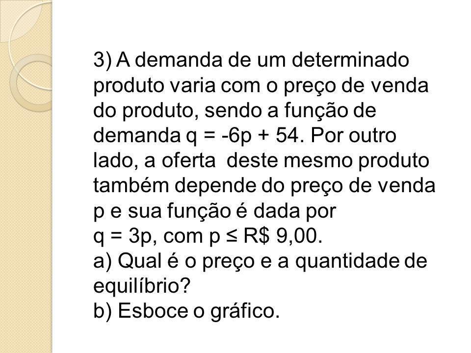 3) A demanda de um determinado produto varia com o preço de venda do produto, sendo a função de demanda q = -6p + 54. Por outro lado, a oferta deste m