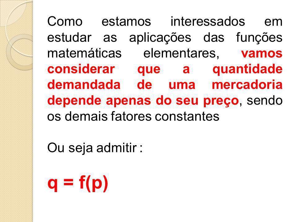 Como estamos interessados em estudar as aplicações das funções matemáticas elementares, vamos considerar que a quantidade demandada de uma mercadoria