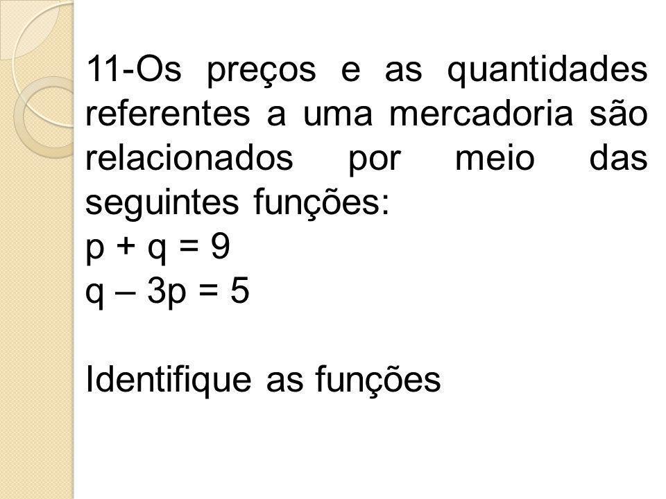 11-Os preços e as quantidades referentes a uma mercadoria são relacionados por meio das seguintes funções: p + q = 9 q – 3p = 5 Identifique as funções
