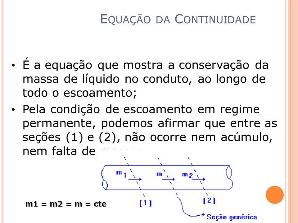 É a equação que mostra a conservação da massa de líquido no conduto, ao longo de todo o escoamento; Pela condição de escoamento em regime permanente,