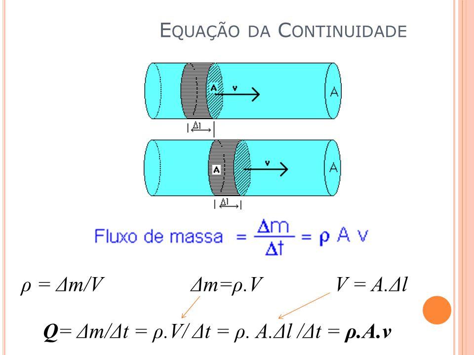 ρ = Δm/V Δm=ρ.V V = A.Δl Q= Δm/Δt = ρ.V/ Δt = ρ. A.Δl /Δt = ρ.A.v