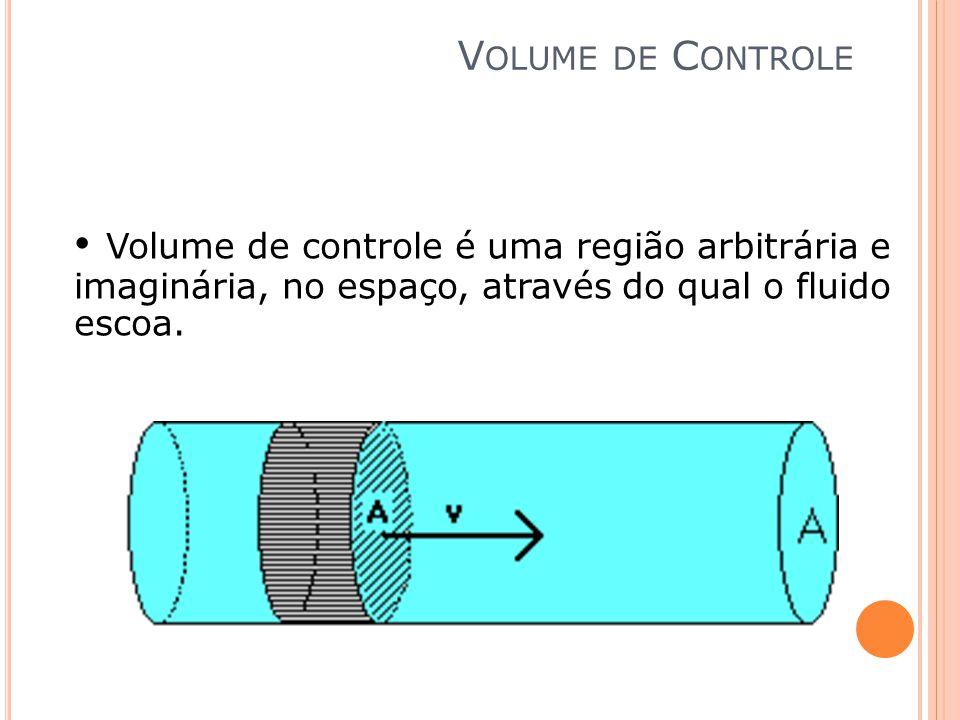 V OLUME DE C ONTROLE Volume de controle é uma região arbitrária e imaginária, no espaço, através do qual o fluido escoa.