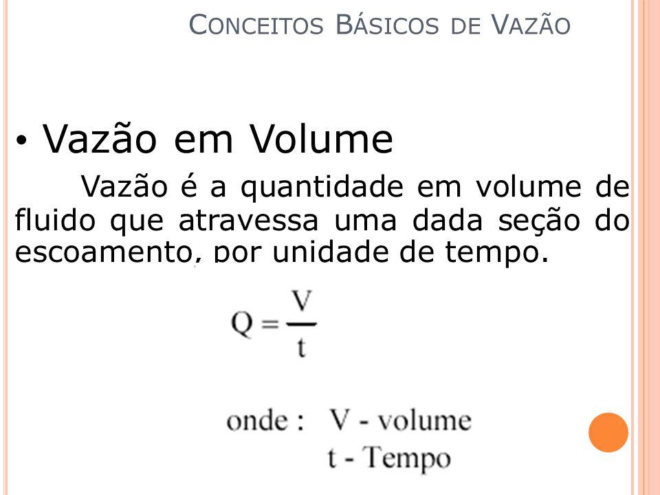 Vazão em Volume Vazão é a quantidade em volume de fluido que atravessa uma dada seção do escoamento, por unidade de tempo. C ONCEITOS B ÁSICOS DE V AZ