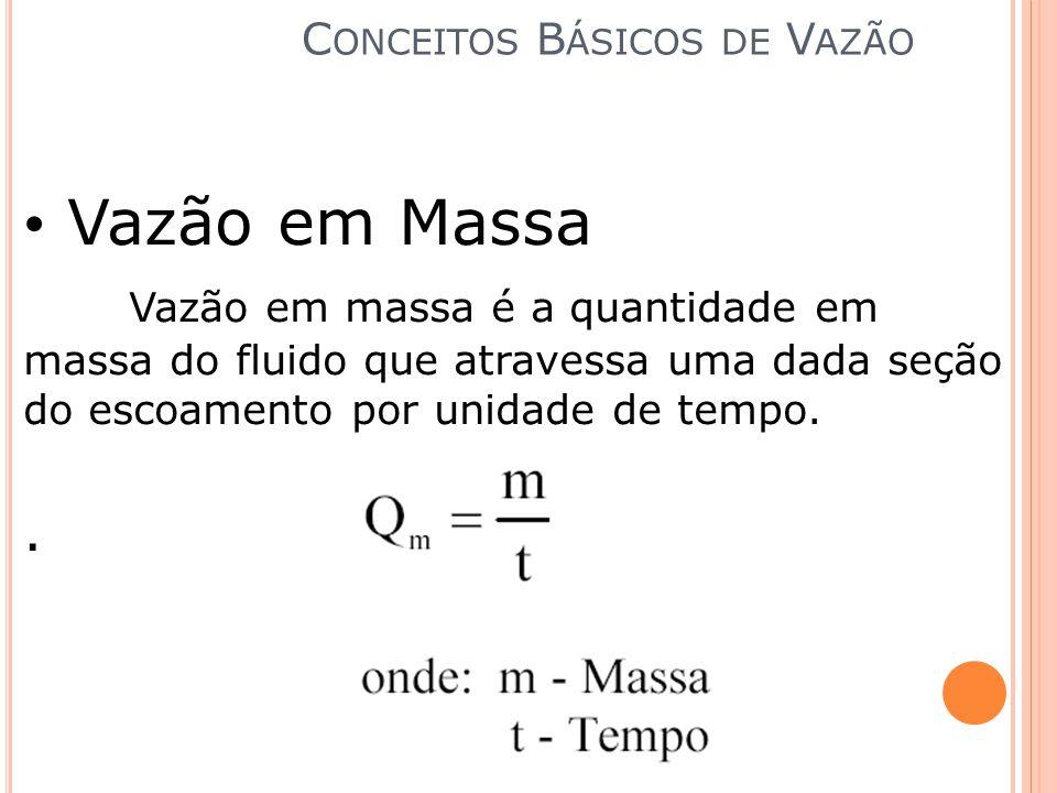 Vazão em Massa Vazão em massa é a quantidade em massa do fluido que atravessa uma dada seção do escoamento por unidade de tempo.. C ONCEITOS B ÁSICOS