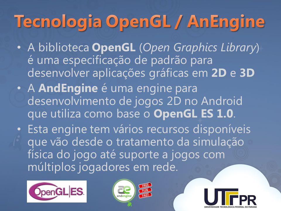 A biblioteca OpenGL (Open Graphics Library) é uma especificação de padrão para desenvolver aplicações gráficas em 2D e 3D A AndEngine é uma engine par
