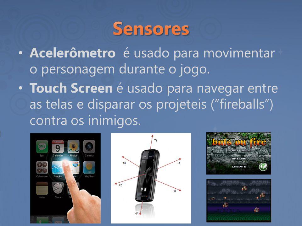 """Acelerômetro é usado para movimentar o personagem durante o jogo. Touch Screen é usado para navegar entre as telas e disparar os projeteis (""""fireballs"""