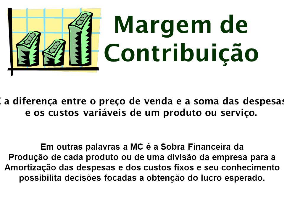 Margem de Contribuição Obs.: Podemos notar que não é possível realizar o cálculo da MC sem a correta separação de custos e despesas ( diretos e indiretos ).