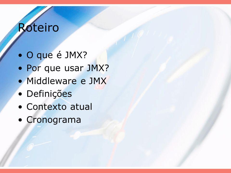 Roteiro O que é JMX? Por que usar JMX? Middleware e JMX Definições Contexto atual Cronograma