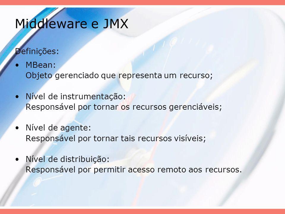 Middleware e JMX Definições: MBean: Objeto gerenciado que representa um recurso; Nível de instrumentação: Responsável por tornar os recursos gerenciáv