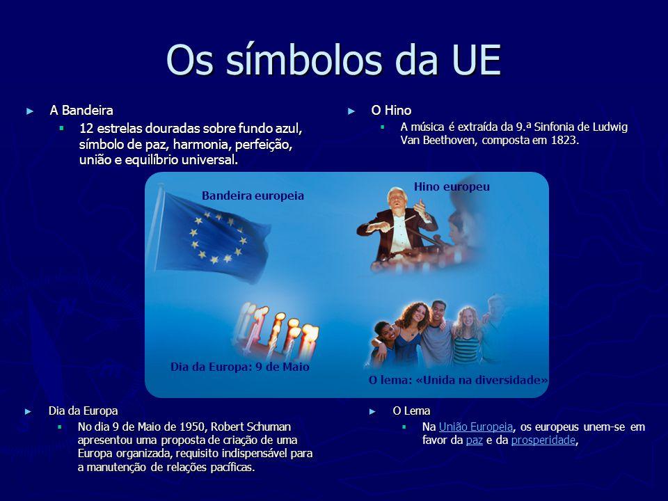 Os símbolos da UE ► A Bandeira  12 estrelas douradas sobre fundo azul, símbolo de paz, harmonia, perfeição, união e equilíbrio universal. ► O Hino 