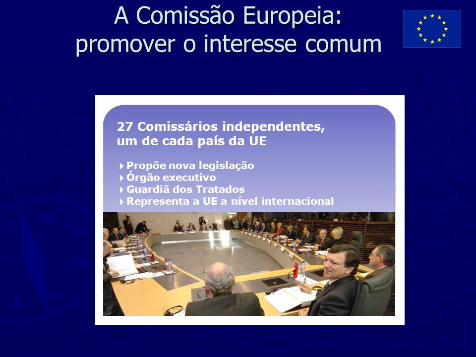 A Comissão Europeia: promover o interesse comum 27 Comissários independentes, um de cada país da UE  Propõe nova legislação  Órgão executivo  Guard